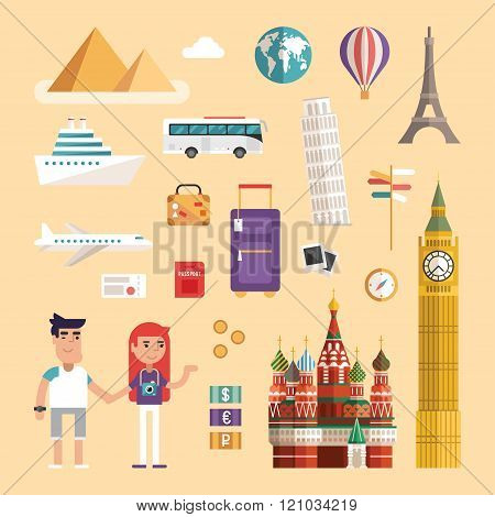 Set Of Tourism Concept Illustrations. Vacation Flat Style Vector Icons