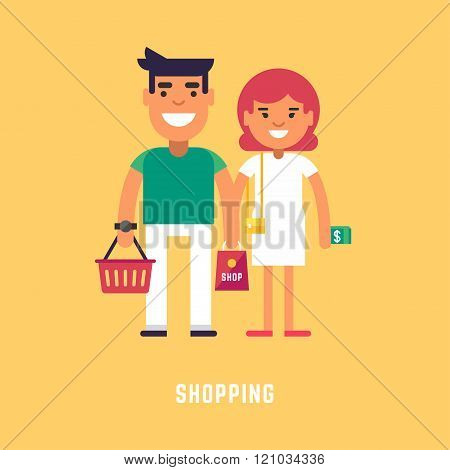 Shopping Concept. Flat Style Vector Illustration. Young Couple With Money And Shopping Bag