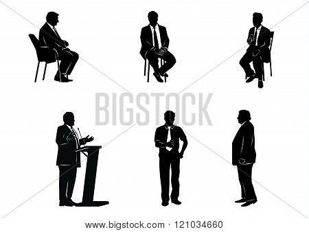 Six Business People Silhouettes