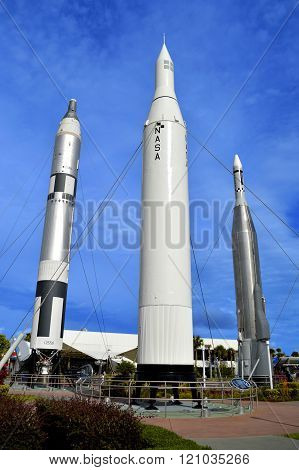 Apollo rockets on display in the rocket garden at Kennedy Space Center