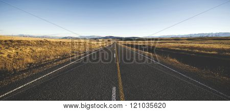 Autumn Highway Country Road Mountain Range Concept