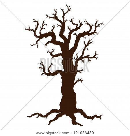 Silhouette Of Halloween Tree, Bare Spooky Scary Halloween Tree. Vector Illustration.