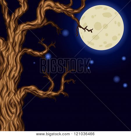 Halloween Background With Silhouettes Of Halloween Trees. Halloween Bare Spooky Scary Trees On Moon