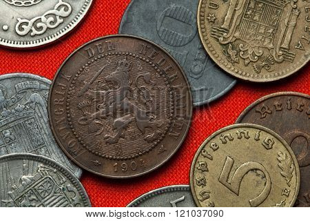 Coins of the Netherlands. Coat of arms of the Netherlands depicted in the Dutch two and a half cent coin (1904).