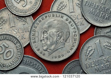 Coins of Germany. German statesman Konrad Adenauer depicted in the German two Deutsche Mark coin (1969).
