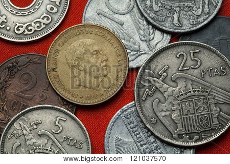 Coins of Spain under Franco. Spanish dictator Francisco Franco depicted in the Spanish one peseta coin (1966).