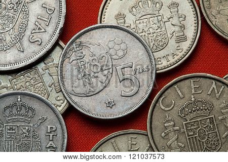 Coins of Spain. Spanish commemorative five peseta coin (1982) dedicated to the 1982 FIFA World Cup.