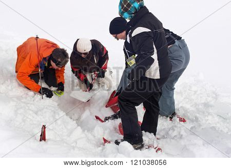 WERTACHER HOERNLE, WERTACH, GERMANY - FEBUARY 28 2016: Team of Alpine rescuers and paramedics training in the latest search and rescue techniques locating a victim buried under snow