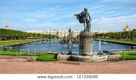 View Of Grand Palace And Upper Park With Fountains In Petergof,