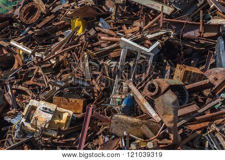 Scrap Metal Waste In A Recycling Yard