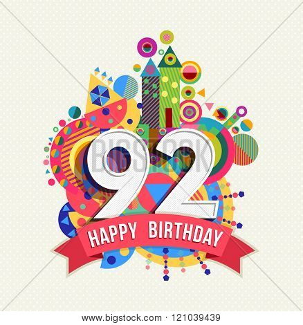 Happy Birthday 92 Year Greeting Card Poster Color