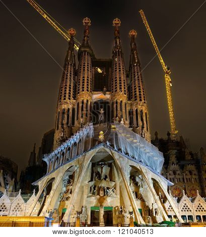 Night View Of Passion Facade Of Sagrada Familia Cathedral In Bar