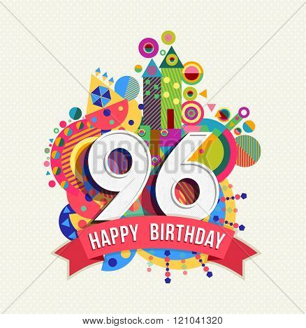 Happy Birthday 96 Year Greeting Card Poster Color
