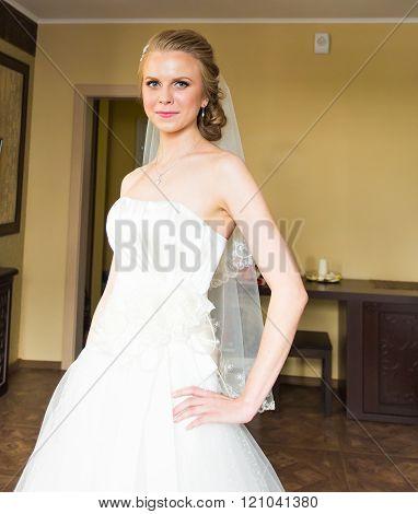 portrait of beautiful bride indoors