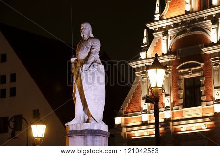 Sculpture Of Roland At The Town Hall Square At Night, Riga, Latvia