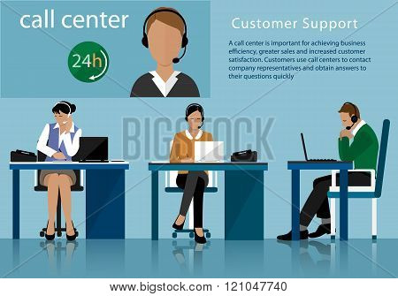 Vector flat call center concept with man and woman in headsets. Call centre operators.