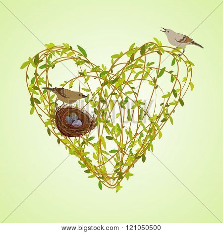 Spring twigs heart shape.