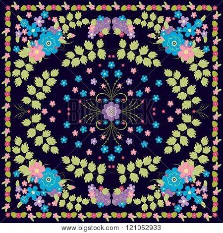 Vector Floral Pattern For Cushion, Pillow, Bandanna Or Shawl