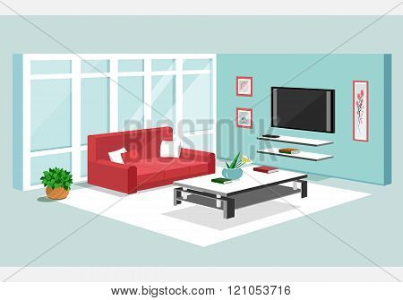 3d isometric design of apartment. Modern isometric living room interior