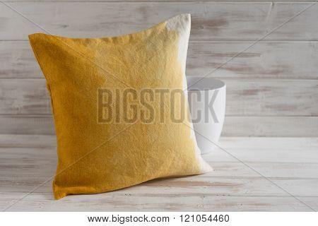 Square Gradient Orange Throw Pillow And Empty Vase