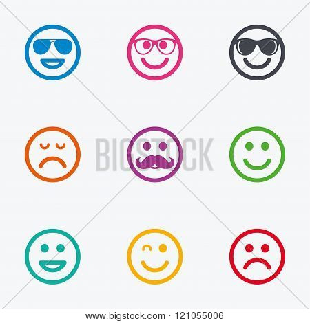 Smile icons. Sunglasses, mustache and laughing.