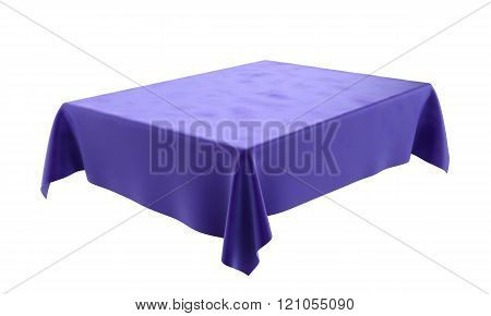 Blue Velor Rectangular Tablecloth For The Table Isolated On White