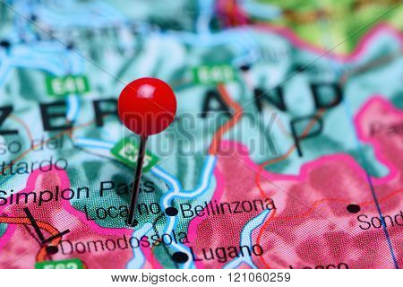 Locarno pinned on a map of Switzerland