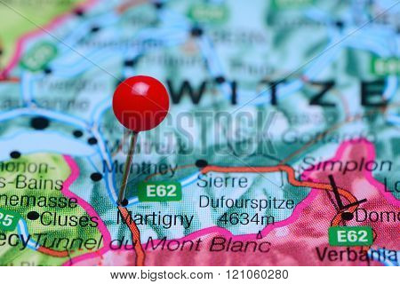 Martigny pinned on a map of Switzerland