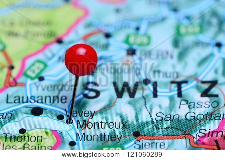 Montreux pinned on a map of Switzerland