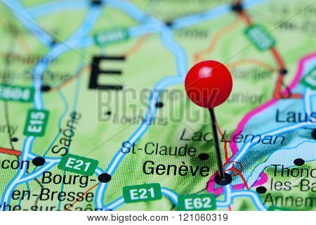 Geneve pinned on a map of Switzerland