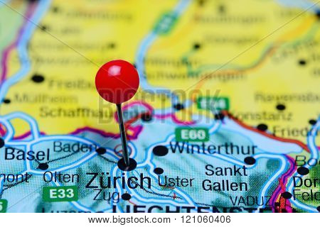 Zurich pinned on a map of Switzerland