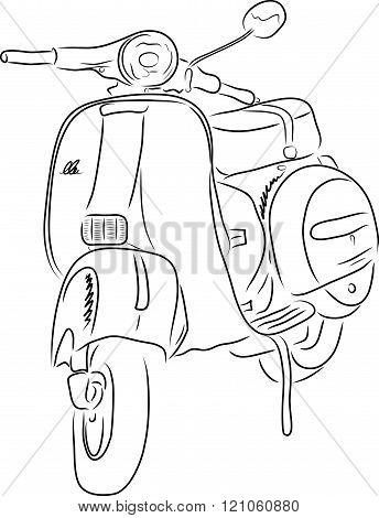 Outline of scooter, vector illustration