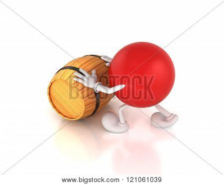 3d-men pushes a barrel , isolated on white background