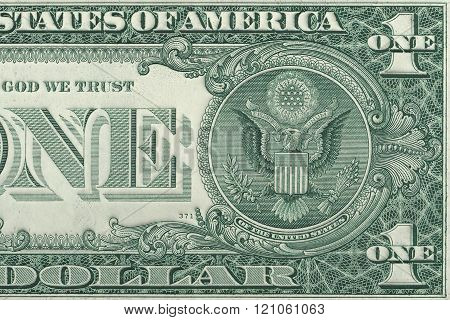 One dollar reverse close up , U.S. dollar