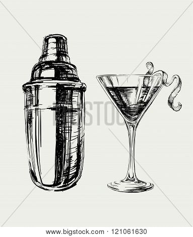 Sketch Cosmopolitan Cocktails and Shaker Vector Hand Drawn Illustration