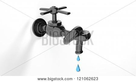 3D leaky water tap tied knot, isolated on white background.