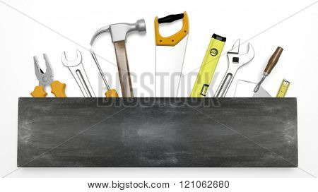 Various hand tools with blank blackboard sign for text, isolated on white background
