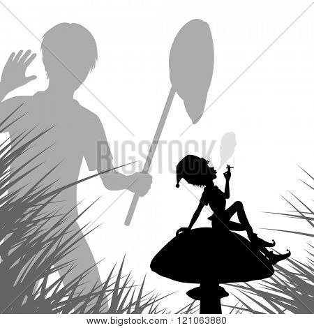 EPS8 editable vector illustration of a young boy with a net finding a smoking pixie on a mushroom