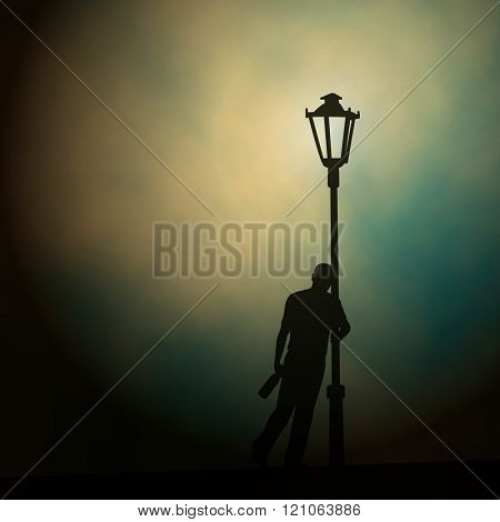EPS10 editable vector illustration of a drunken man leaning against a lamp-post at night made using a gradient mesh