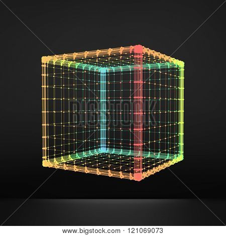 Cube. Regular Hexahedron. Platonic Solid. Regular, Convex Polyhedron. 3D Connection Structure. Lattice Geometric Element for Design. Molecular Grid. Wireframe Mesh Polygonal Element.