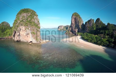 Aerial view on tropical beach (Pranang beach) and rocks, Krabi, Thailand