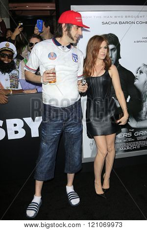 LOS ANGELES - MAR 3: Sasha Baron Cohen, Isla FIsher at the Premiere of 'The Brothers Grimsby' at the Regency Village Theater on March 3, 2016 in Los Angeles, California