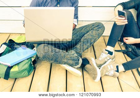 Friends Couple Crop Internet Addiction Scene - Urban People Using Pc And Mobile Phone