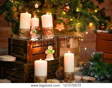 Christmas decorative burning candle
