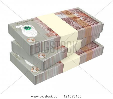 Mauritian rupee bills isolated on white background. Computer generated 3D photo rendering.