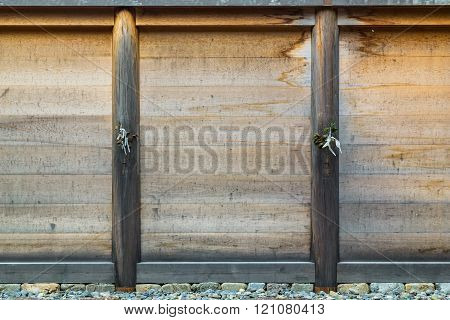 Wood Panel at Ise Jingu Geku(Ise Grand shrine - outer shrine) in Ise City, Mie Prefecture, Japan poster