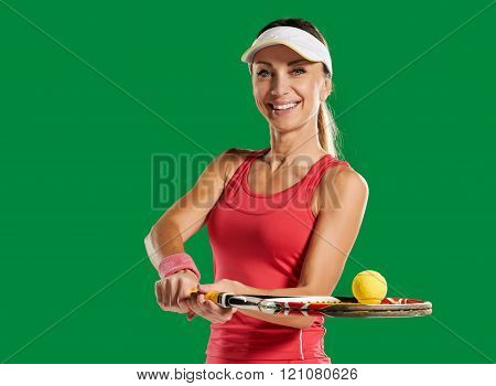 girl with a tennis racket and ball