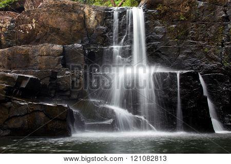 Motion photo of the Khlong Yai Ki waterfall in Ko Kood island, Thailand