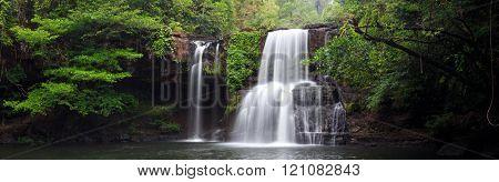 Panorama of the Khlong Chao waterfall in Ko kood island, Thailand