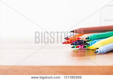 Color pen  on white background